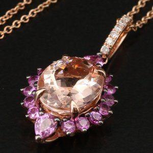 EFFY 4.5 CT Diamond, Morganite & Sapphire Necklace